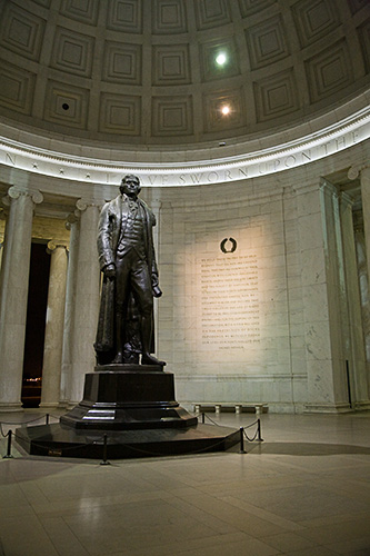 Statue of Thomas Jefferson in the Jefferson Memorial in Washington DC